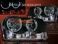 2005-2009 CHRYSLER 300 CCFL TWIN HALO RIMS BLACK HEADLIGHTS 06 07 08