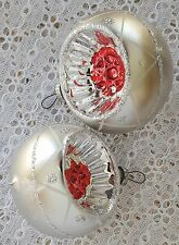 2 Vintage Glass Christmas Ornaments Single Indent Silver White Red Bauble Balls