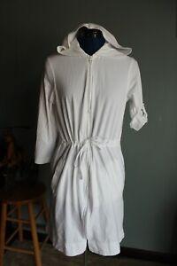 Lands End Women's White Full-Zip Hooded 3/4 Sleeve Swim Cover-Up ~S~ 398750