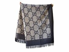 new $995 GUCCI brown beige cashmere/wool GG logo THROW BLANKET 100% auth LARGE