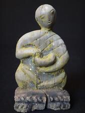 Superbe sculpture expressive moine au bol Laos Antique monk wooden carved XIX