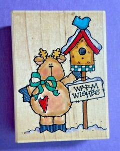 Penny Black Rubber Stamp Wood Mount Warm Wishes Reindeer 337H Bird House Snow