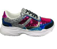 FASHION WOMENS MIX SEQUIN SPARKLY TRAINERS LACE UP SPORTS SNEAKERS PUMPS SHOES