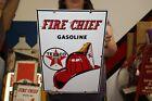 "Vintage 1963 Texaco Fire Chief Gasoline Gas Pump 18"" Porcelain Metal Sign NICE"