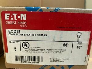 EATON CROUSE HINDS ECD18 1/2 DRAIN BREATHER WITH COMBINATION Qty 5