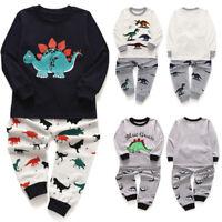 New Toddler Kids Baby Boys Girls Pajamas Cartoon Dinosaur Tops+Pant Outfit Set