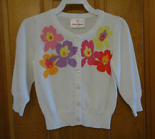 New W/Tags Hanna Andersson White Floral Cardiganl Sweater Girl's 80, 10-24M