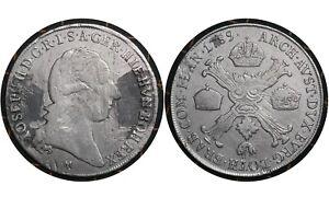 1 Kronenthaler 1789 Austrian Netherlands (Belgium 🇧🇪 Silver Coin Joseph II# 34