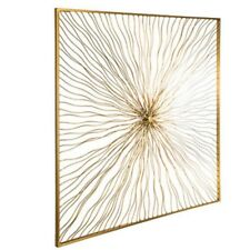 "Large  Gold Wavy SUN BURST Metal Wall Decor Shabby Chic Decor 28"" X 28"""