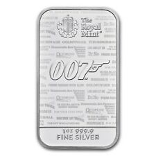 The Royal Mint James Bond 007 No Time To Die 1 oz 999 Silberbarren Feinsilber