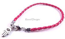Hamsa Red Leather Bracelet Evil Eye Silver Kabbalah Hand Of Fatima Judaica Gift
