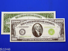Reproduction $5000 1934 FRN US Paper Money Currency Copy