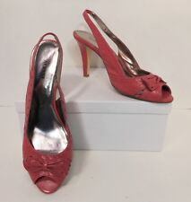 Alfani Campbell Pink Leather Peep Toe Slingback Pumps Heels Shoes 9.5 M (S151)