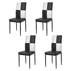 4Pcs Black&White Faux Leather Dining Chairs Dinning Room Metal Leg Padded Seat