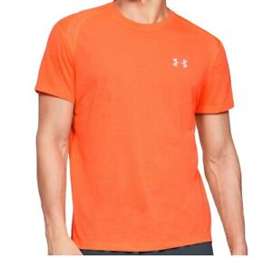 Under Armour Mens Streaker 2.0 Shift Crew Stretch Fitness/Gym Tee. Orange. Small