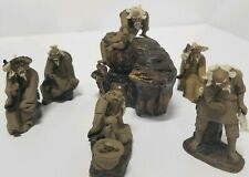 6 VINTAGE MINI CHINESE CLAY BONSAI MINIATURE lot ASIAN MUDMEN FIGURINES mudman
