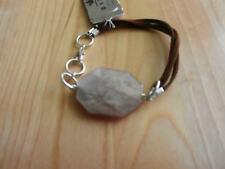 Barse Sterling Silver, Leather and Carnelian  Bracelet MSRP $58