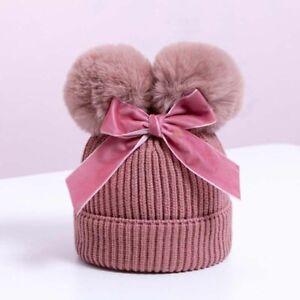 Cute Baby Hat Cap Double Pompom Knitted Girl Boy Hat Warm Kids Hat Bonnet Soft