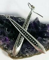 PREMIER DESIGNS 'Sweet Pea' Silver Elongated Drop Dangle Earrings FREE SHIPPING!