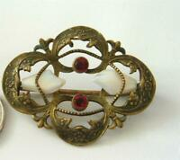 Antique Victorian Art Nouveau Brooch Pin Gilt Brass Baby Tooth Pearl Red Stones