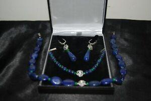 Lapis Lazuli & Emerald Stone Leopard Head Necklace, Bracelet & Earrings Set