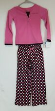 Calvin Klein Girls PINK & BROWN Polka Dot 2 Piece Pajama Set PJ's Size 4/5 NEW
