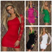 Women Sexy Red Floral Lace One Shoulder Mini Club Dress Plus Size Mini Dresses
