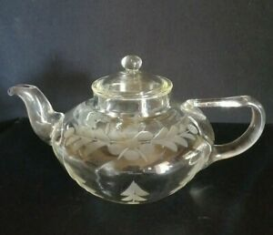 RARE 1930s Pyrex squat Teapot Engraved Frederick Carder Design hand blown by JAJ