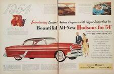 1954 Hudson Hornet Car Art Large 2 Page Vintage Print Ad 1950s