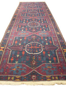Red Woven 5 x 16 ft Traditional Wine Red Fine Quality Russian Flat Weave OLD