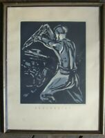 ::HEINZ SCHILDKNECHT *1913 LINOLSCHNITT HAUERBRIEF UM 1935 BERGWERKE ANTIK SIGN.