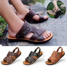 Men Slip On Leather Sandals Beach Outdoor Summer Casual Ankle Strap Slippers NEW