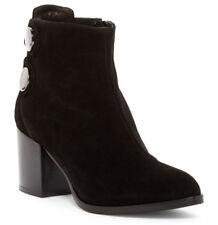 NEW Alberto Fermani Tortora Black Suede Buttons Ankle Boot Bootie/Side Zip 37/7