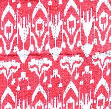 "Indian Ikat Design Cotton Kantha Stitch Cushion Cover - Red stonewash -16""/41 cm"
