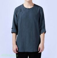 Retro Chinese Style Mens Summer Short Sleeve Cotton Linen Shirt Casual Thin Tops