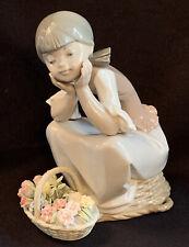 New ListingVtg Lladro 5173 Pondering Girl Sitting w/ Basket of Flowers Retired Figurine Euc