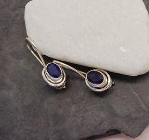 Indischer Saphir blau oval Design Ohrringe Ohrhänger 925 Sterling Silber neu new