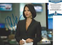 OLIVIA MUNN SEXY ACTRESS SIGNED THE NEWSROOM 8x10 PHOTO C X-MEN BECKETT COA BAS