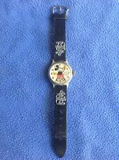 Vintage 1930's Ingersoll Mickey Mouse Wrist Watch,Original Leather Band,Charms