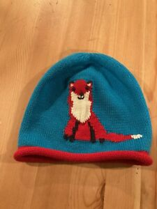 Hanna Andersson Knit Knitted Sweater Fox Blue Red Hat M Medium Toddler 7inch