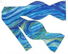 (1) BOW TIE - ABSTRACT OCEAN-ARCTIC TURQUOISE & ROYAL BLUE W/ PURPLE HIGHLIGHTS