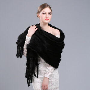 Real Genuine Mink Fur Knitted Scarf Ladies Shawl Scarves Wrap Evening Poncho