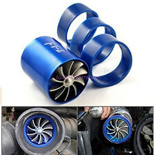 F1-Z Double Fan Air Intake Supercharger Turbo Turbine Fuel Gas Saver Fan Blue
