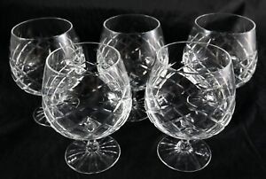Set of 5 quality Vintage Lead Crystal Brandy balloons glasses