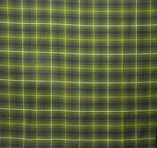 Vintage Olive Green Plaid Cotton  Drapery Upholstery Kaufmann Fabric By The Yard