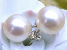 10-11mm AAA+ perfect round white south sea pearls stud earring 14k White Gold