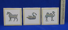 Set 3 Ceramic Tiles Decor Crafts Wenczel Zebra Swan & Camel Mosaic Stylized