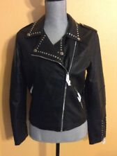 BEBE Ladies Faux Leather Stud Jacket Black Size Medium