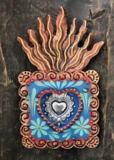 Painted Tin Heart with Crown 2 Luminarias Set SACRED HEART CANDLEHOLDERS