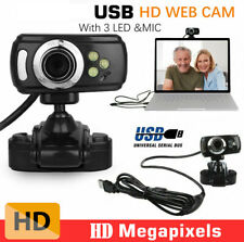 HD USB 3 LED Webcam Video Camera with MIC Clip-on for Computer PC Laptop Desktop